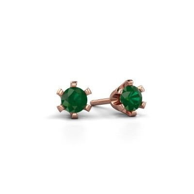 Picture of Stud earrings Shana 585 rose gold emerald 4 mm