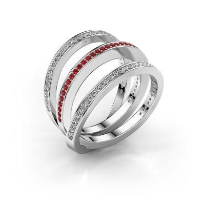 Foto van Ring Jaqueline 925 zilver robijn 1 mm