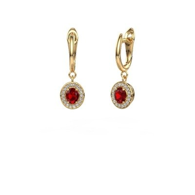 Picture of Drop earrings Nakita 750 gold ruby 5x4 mm