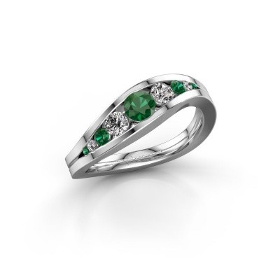 Picture of Ring Sigrid 2 585 white gold emerald 4 mm