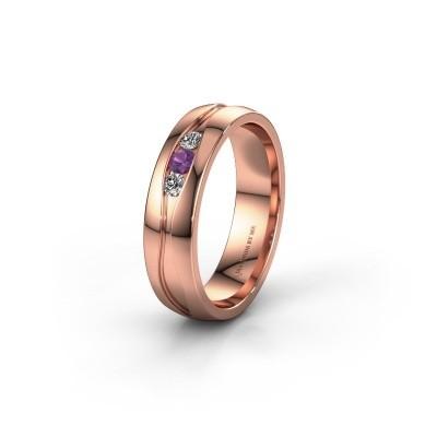 Trouwring WH0172L25A 585 rosé goud amethist ±5x1.7 mm