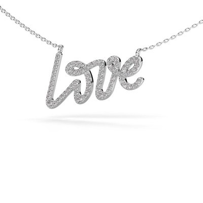 Foto van Hanger Love 585 witgoud zirkonia 1 mm