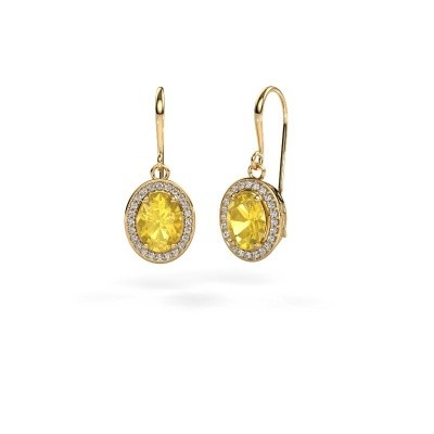 Picture of Drop earrings Latesha 585 gold yellow sapphire 8x6 mm