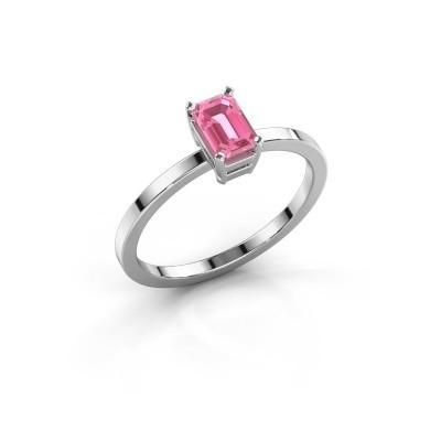Foto van Verlovingsring Denita 1 585 witgoud roze saffier 6x4 mm