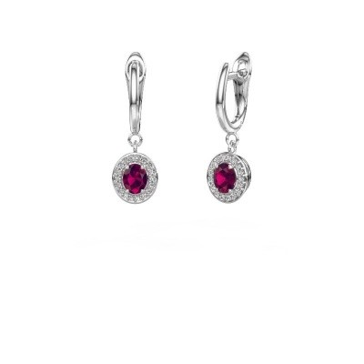 Picture of Drop earrings Nakita 585 white gold rhodolite 5x4 mm