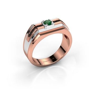Foto van Heren ring Oliver 585 rosé goud smaragd 4 mm