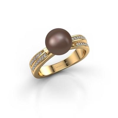 Foto van Ring Jolies 375 goud bruine parel 8 mm