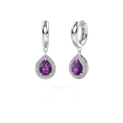 Picture of Drop earrings Barbar 1 950 platinum amethyst 8x6 mm