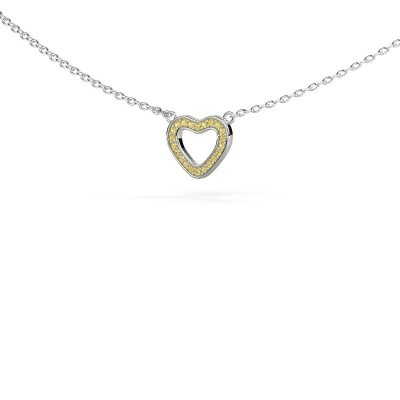 Picture of Pendant Heart 4 585 white gold yellow sapphire 0.8 mm