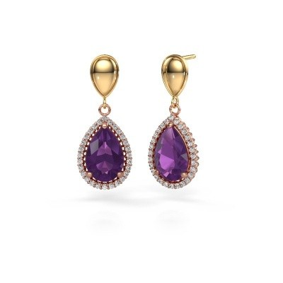 Picture of Drop earrings Cheree 1 585 rose gold amethyst 12x8 mm