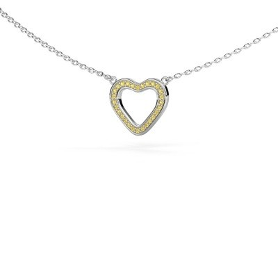 Picture of Pendant Heart 3 925 silver yellow sapphire 0.8 mm