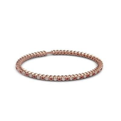 Foto van Tennisarmband Trix 750 rosé goud robijn 2 mm