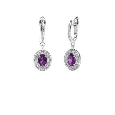 Picture of Drop earrings Layne 2 585 white gold amethyst 7x5 mm