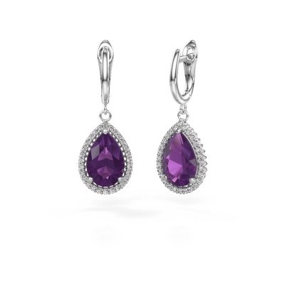 Picture of Drop earrings Hana 1 950 platinum amethyst 12x8 mm