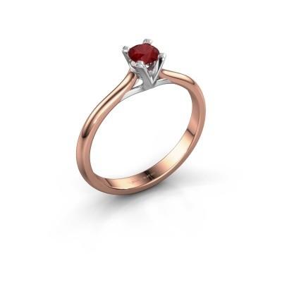 Foto van Verlovingsring Isa 1 750 rosé goud robijn 4 mm