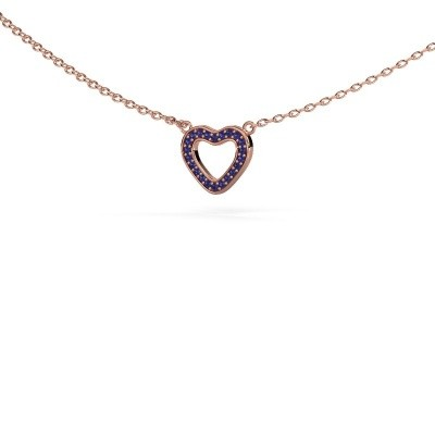 Picture of Pendant Heart 4 375 rose gold sapphire 0.8 mm