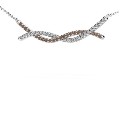Picture of Bar necklace Breanne 925 silver brown diamond 0.338 crt