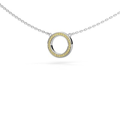 Picture of Pendant Round 1 375 white gold yellow sapphire 0.8 mm