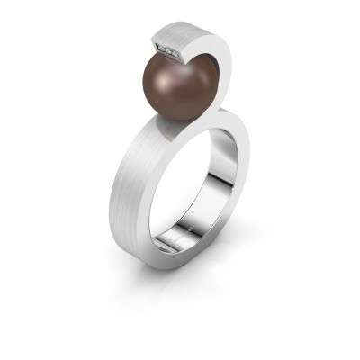 Foto van Ring Juana 585 witgoud bruine parel 9 mm