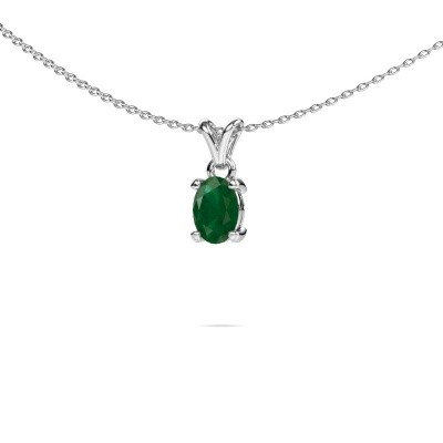 Picture of Necklace Lucy 1 925 silver emerald 7x5 mm
