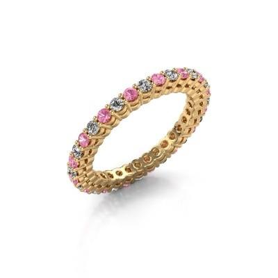 Foto van Aanschuifring Rufina 3 375 goud roze saffier 1.9 mm
