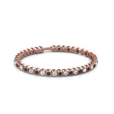 Foto van Tennisarmband Mellisa 750 rosé goud zwarte diamant 7.92 crt