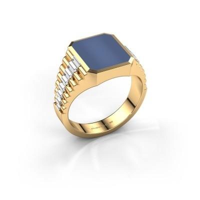 Foto van Rolex stijl ring Brent 2 585 goud blauw lagensteen 12x10 mm