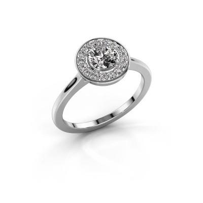 Foto van Ring Agaat 1 585 witgoud diamant 0.66 crt