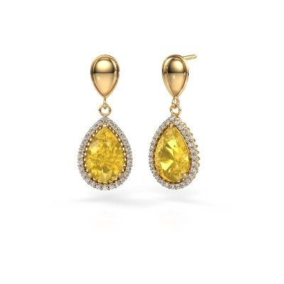 Picture of Drop earrings Cheree 1 585 gold yellow sapphire 12x8 mm