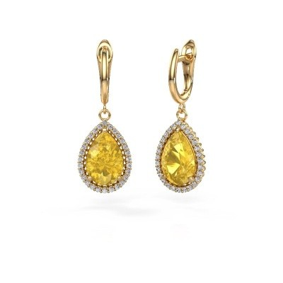 Picture of Drop earrings Hana 1 585 gold yellow sapphire 12x8 mm