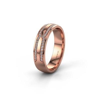 Trouwring WH2212L25AP 585 rosé goud lab created ±5x1.7 mm
