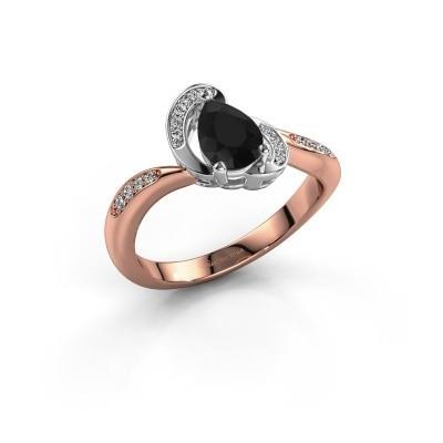 Foto van Ring Jonelle 585 rosé goud zwarte diamant 0.878 crt