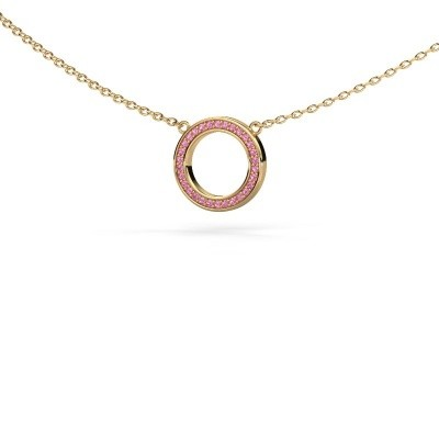 Picture of Pendant Round 1 585 gold pink sapphire 0.8 mm