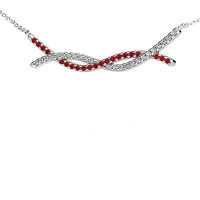 Picture of Bar necklace Breanne 925 silver ruby 1.2 mm