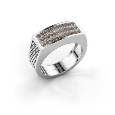 Foto van Heren ring Erwin 925 zilver bruine diamant 0.435 crt