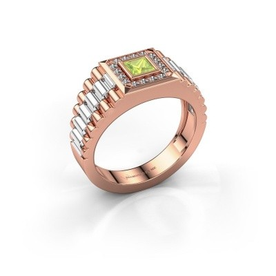 Foto van Rolex stijl ring Zilan 585 rosé goud peridoot 4 mm