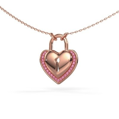 Picture of Necklace Heartlock 375 rose gold pink sapphire 1 mm