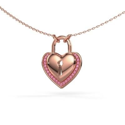 Bild von Halskette Heartlock 375 Roségold Pink Saphir 1 mm