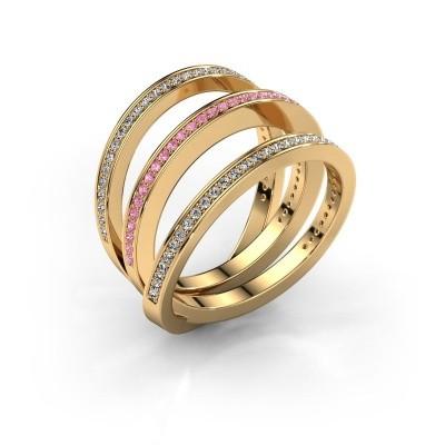 Foto van Ring Jaqueline 375 goud roze saffier 1 mm