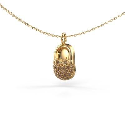 Bild von Anhänger Babyshoe 585 Gold Braun Diamant 0.193 crt
