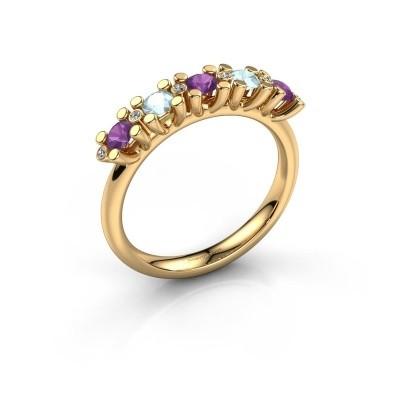 Ring Puk 3 585 goud amethist 3 mm