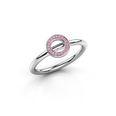 Foto van Ring Shape round small 950 platina roze saffier 0.8 mm