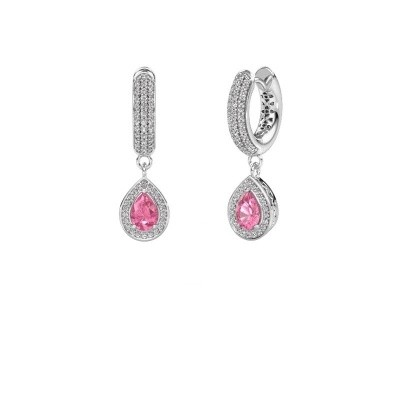 Picture of Drop earrings Barbar 2 375 white gold pink sapphire 6x4 mm