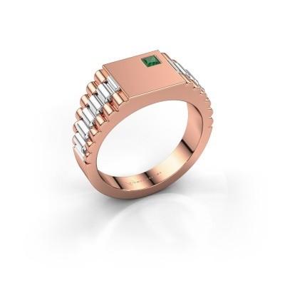 Foto van Rolex stijl ring Pelle 585 rosé goud smaragd 3 mm
