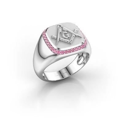 Foto van Heren ring Johan 950 platina roze saffier 1.2 mm