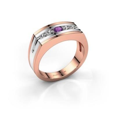 Foto van Heren ring Huub 585 rosé goud amethist 3.7 mm
