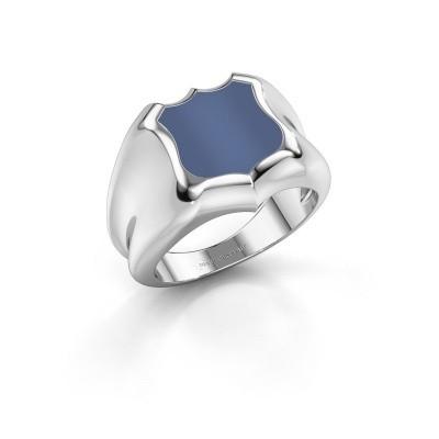 Foto van Zegelring Nevin 375 witgoud blauw lagensteen 12x12 mm