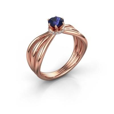 Verlovingsring Kimi 585 rosé goud saffier 5 mm