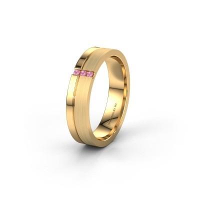 Trouwring WH0157L14XPM 585 goud roze saffier ±4x1.4 mm