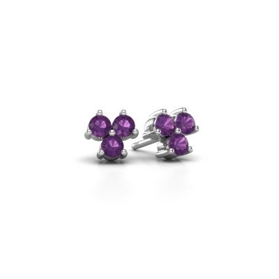 Picture of Stud earrings Shirlee 925 silver amethyst 3 mm